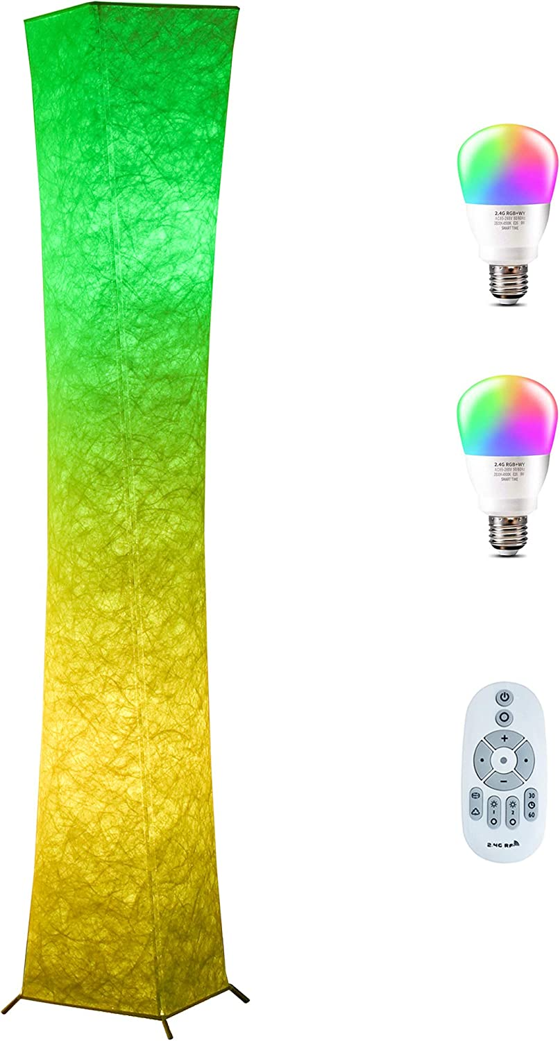Floor Lamp Chiphy 64 Tall Lamp Dimmable And Color Changing Led Smart Bulbs And White Fabric Shade With Remote Control Standing Lamp For Living Room Bedroom And Play Room Amazon Com