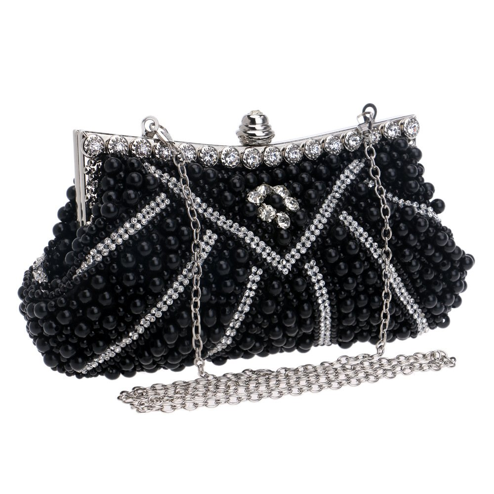 Flada Luxury Crystal Beaded Evening Clutch for Women Purse Bags