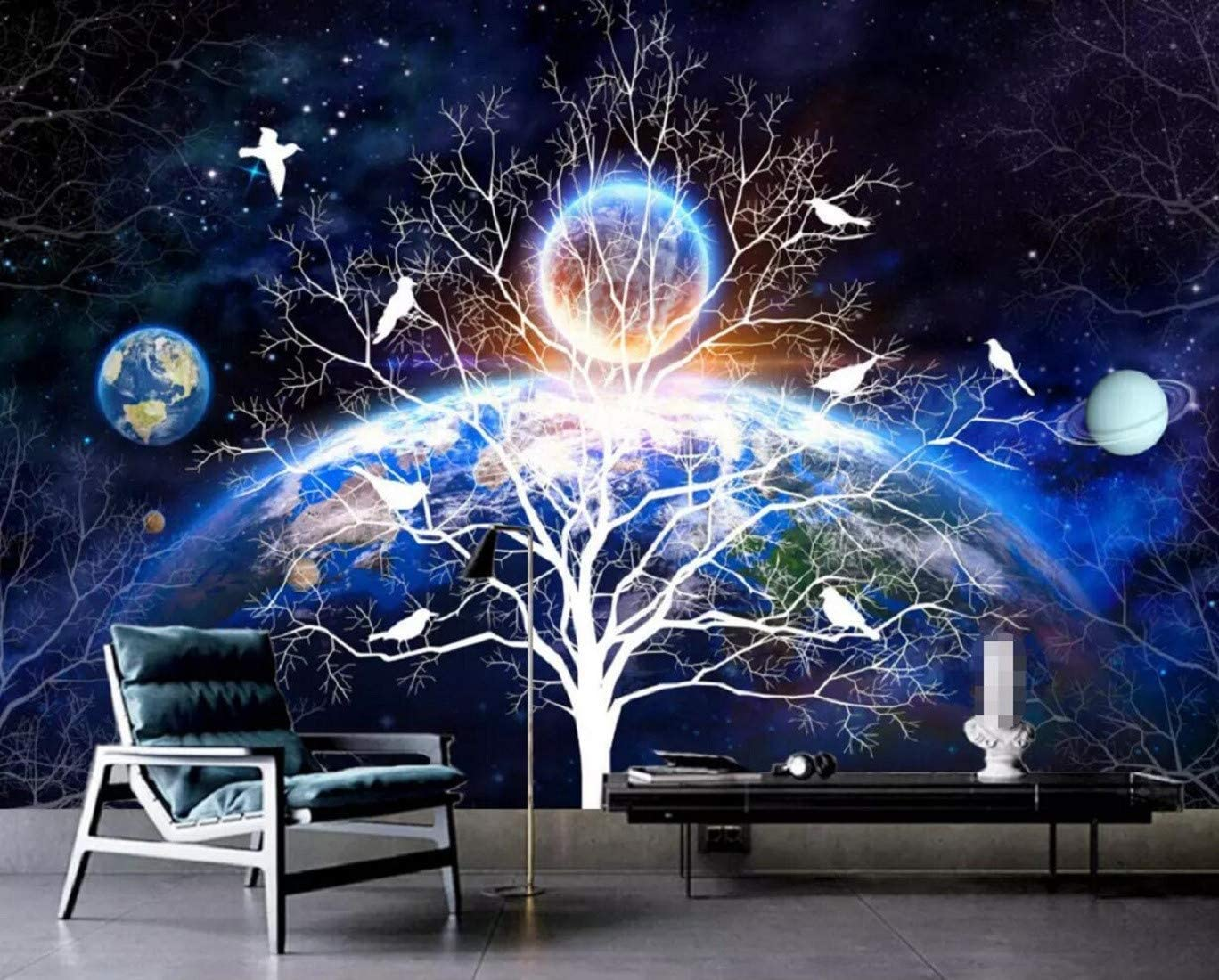Wall Mural 3D Trees Flowers Birds Stars Planet Custom