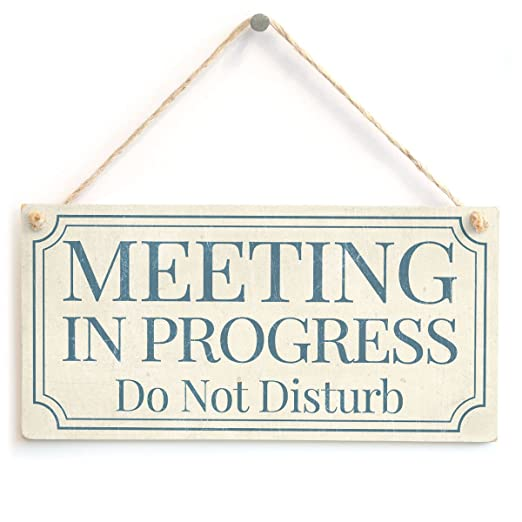 Cartel/placa de no molestar con leyenda en inglés «Meeting ...