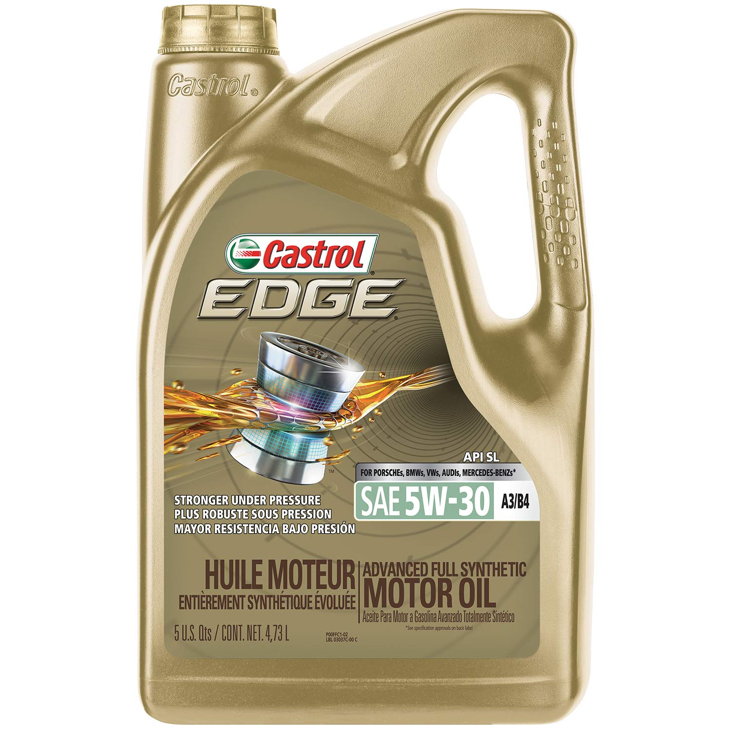 Amazon.com: Castrol 03037 EDGE 5W-30 A3/B4 Advanced Full Synthetic Motor Oil, 5 quart, 3 Pack: Automotive