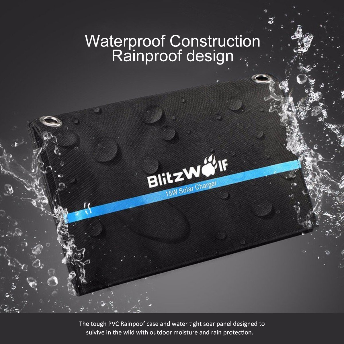BlitzWolf 15W Solar Charger Portable Dual USB Port for iPhone X 8 Plus 7 6 6s Plus, Samsung Galaxy S8 S7 S6 Edge, Android Powered Foldable Panel Water Resistant High-Efficiency SunPower Charger by BlitzWolf (Image #3)