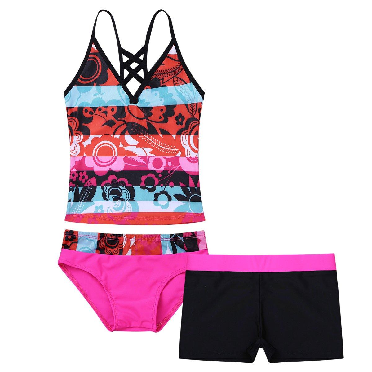 TiaoBug 2Pcs Girls Summer Beach Holiday Halter Tankini Bikini Swimsuit (Hot Pink, 16)