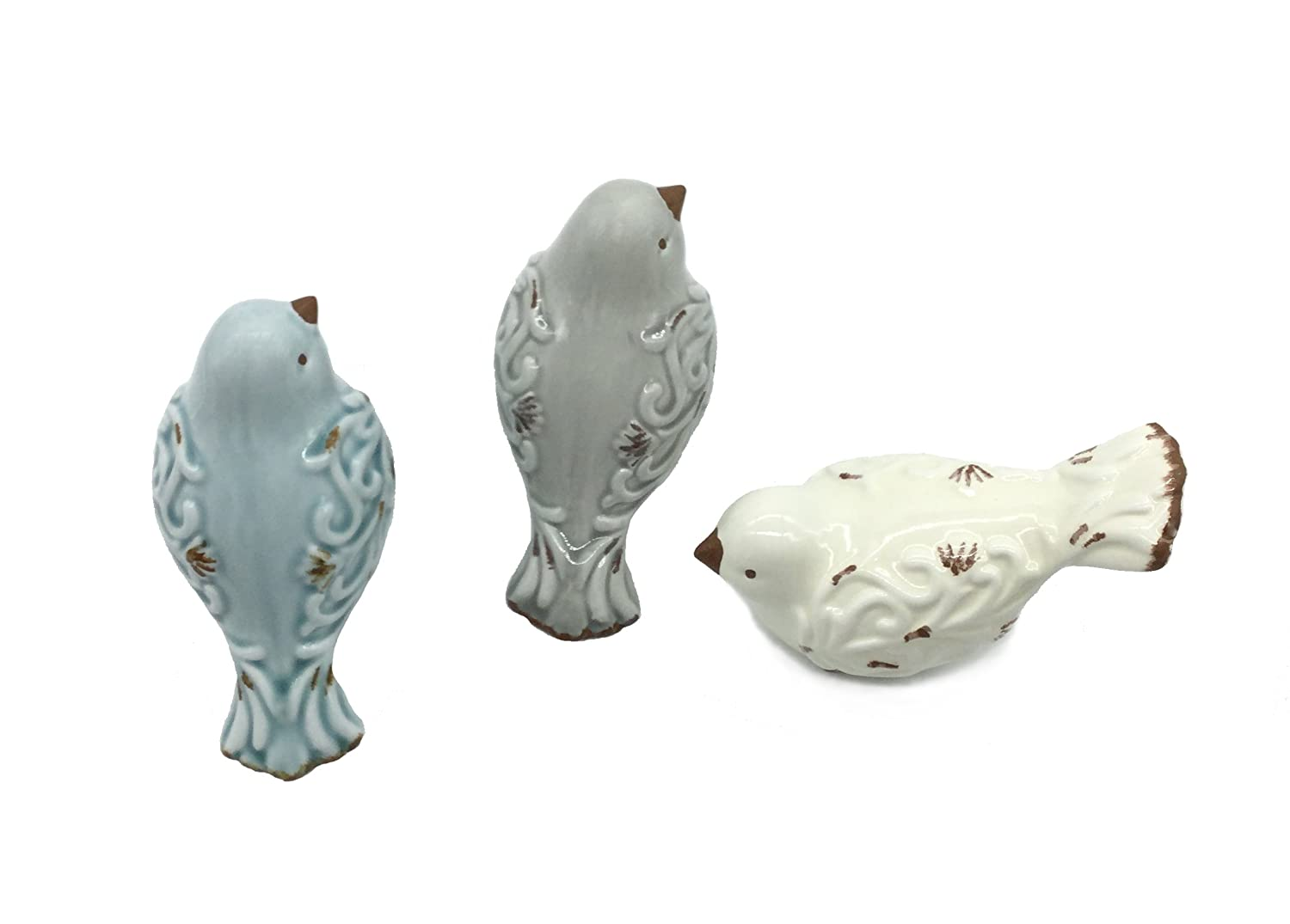 FICITI Distressed Finish Ceramic Bird Figurine Home Decor - Assorted Set of 3