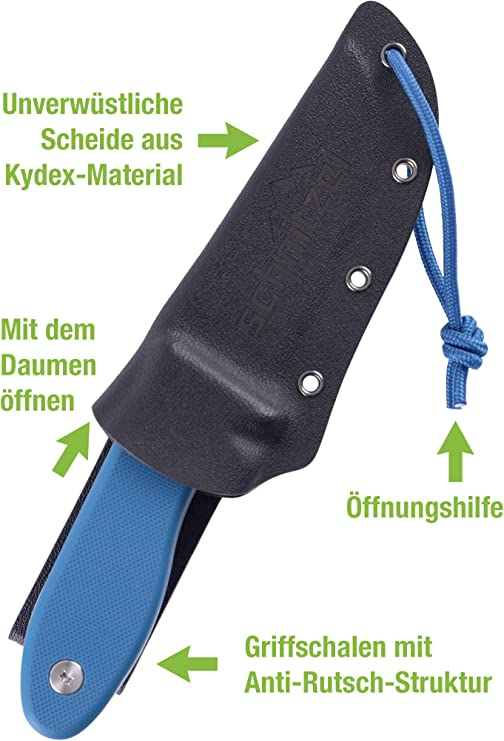 Schnitzel UNU ORANGE Messer Kindermesser Schnitzmesser 8Cr13MoV Stahl G10 Kydex