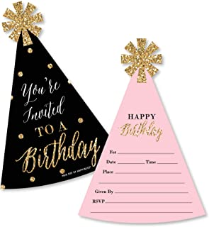 product image for Big Dot of Happiness Chic Happy Birthday - Pink, Black and Gold - Shaped Fill-In Invitations - Birthday Party Invitation Cards with Envelopes - Set of 12