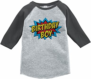 7 ate 9 Apparel Boys Birthday Six Superhero Grey Raglan