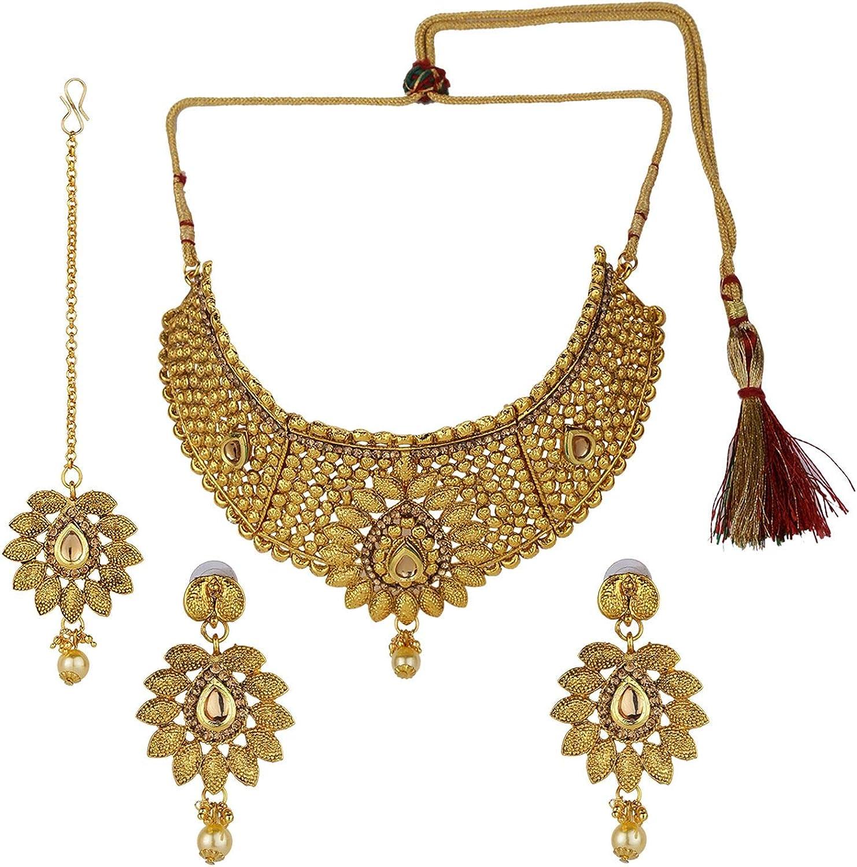 Gold Plated Choker Bollywood Indian Kundan Ethnic Necklace Earrings Bridal Set