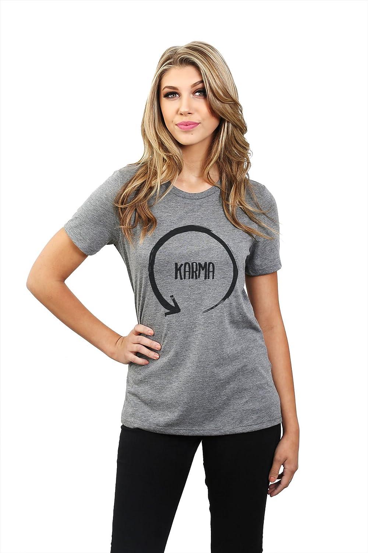 Thread Tank Depósito de rosca Karma Ciclo de la mujer relajado camiseta de manga corta Heather gris - Gris -: Amazon.es: Ropa y accesorios