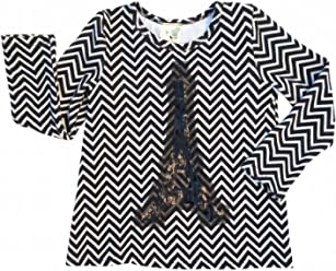 1a92783a9370 Lily Bleu Little Girls (Size 3T) Blk White Chevron Eiffel Tower Hi Low