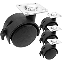 PrimeMatik - Zwenkwielen nylon wiel met rem 40 mm 35x35 mm 4-pack