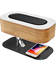 Ampulla Ampulla Bedside Lamp with Bluetooth Speaker and Wireless Charger, Sleep Mode Stepless Dimming (Exclusive), QR-8 20W, 5V