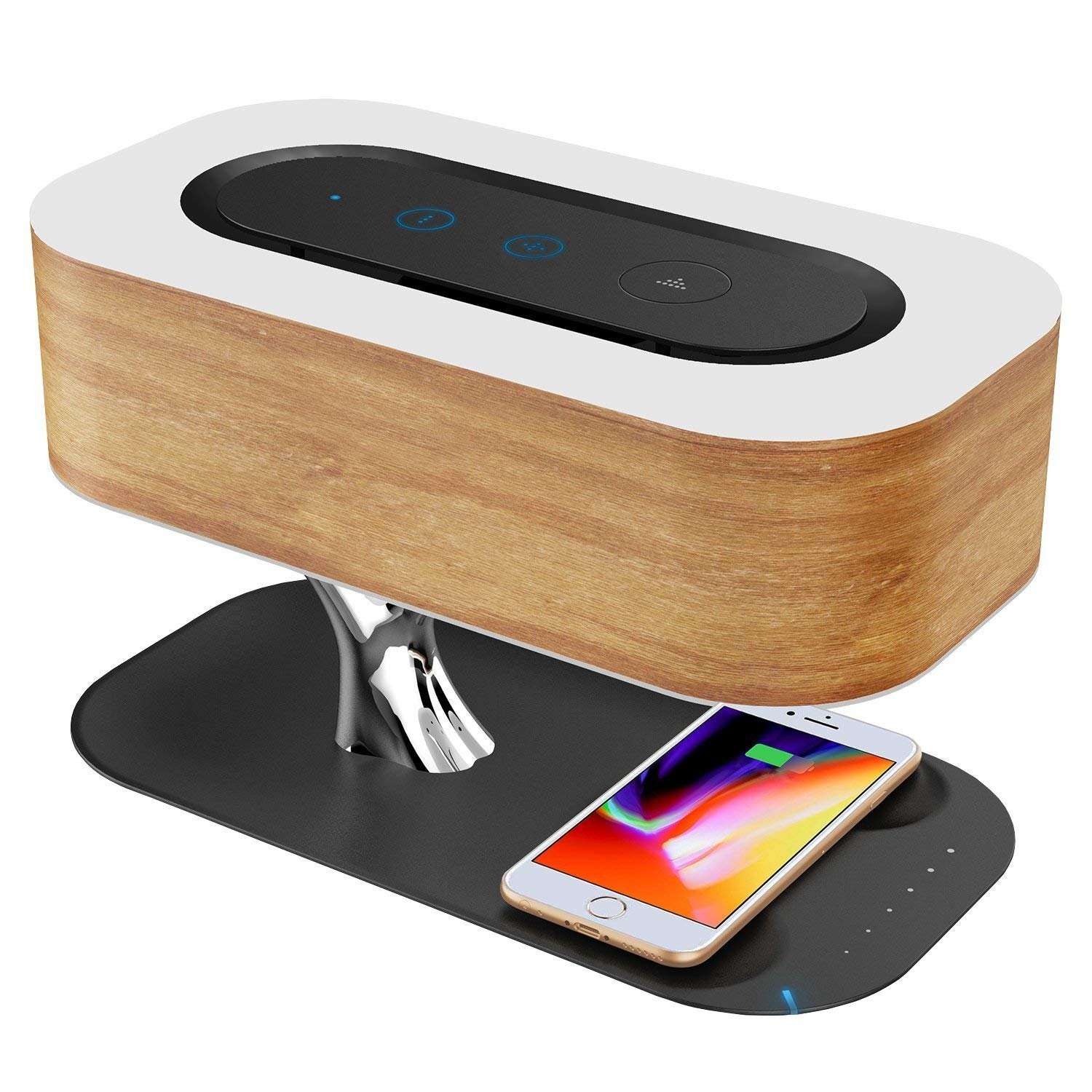Ampulla Table Lamp with Wireless Charger and Bluetooth Speaker, Sleep Mode Stepless Dimming