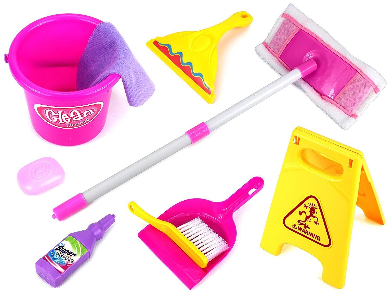 AJ Toys & Games Deluxe Children's Kid's Pretend Play Toy Cleaning Play Set w/ Floor Dust Mop, Bucket, Dust Pan, Brush, Squeegee, Cleaning Rag, Wet Floor Sign, Mock Soap Bottle & Bar