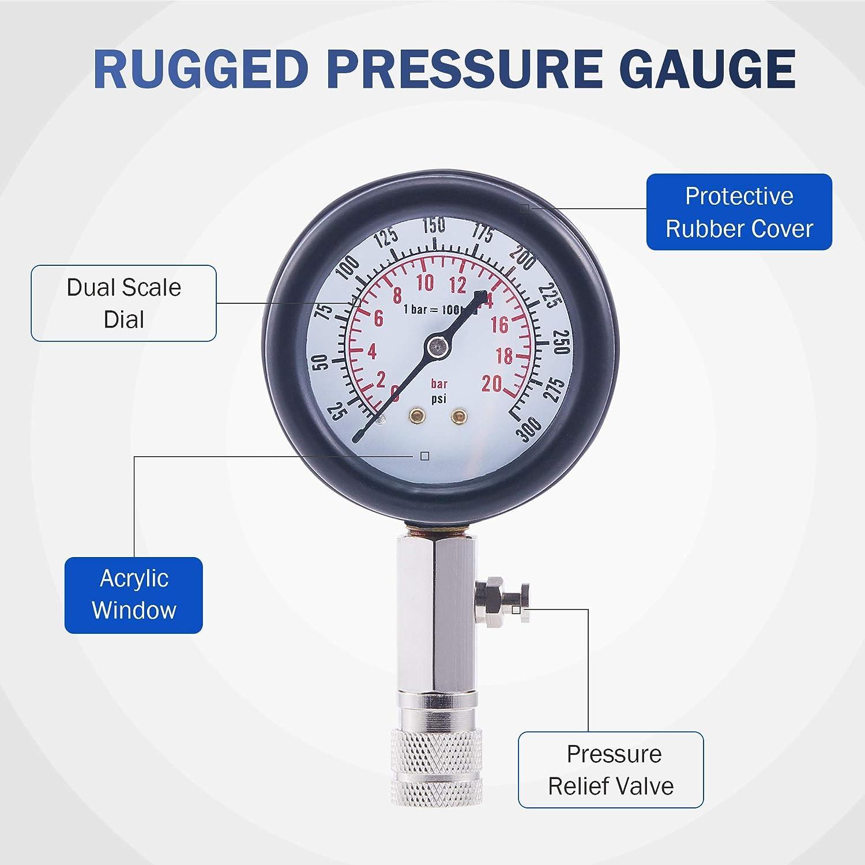 8PCS Engine Cylinder Pressure Gauge for Petrol Gas Engine Compression Tester