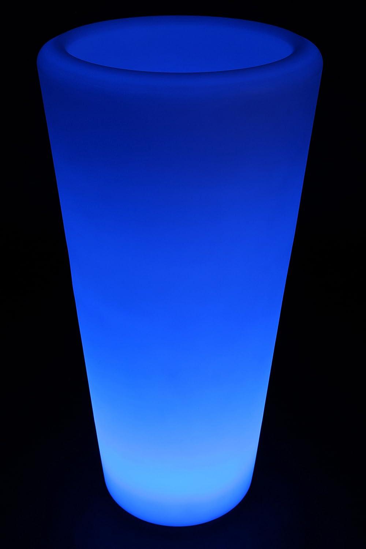 point-garden Blumenkübel LED Farbwechsel 87cm Pflanzkübel beleuchtet Lampe Akku FB