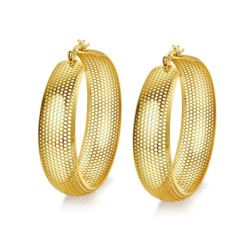 ad56fb07d46978 Amazon.com: Epinki Women Stainless Steel Earrings Gold Mesh Circle ...