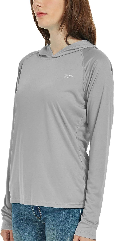 Sun Protection Hoodie Shirt Long Sleeve SPF UV Top Lightweight Quick Dry Willit Womens UPF 50