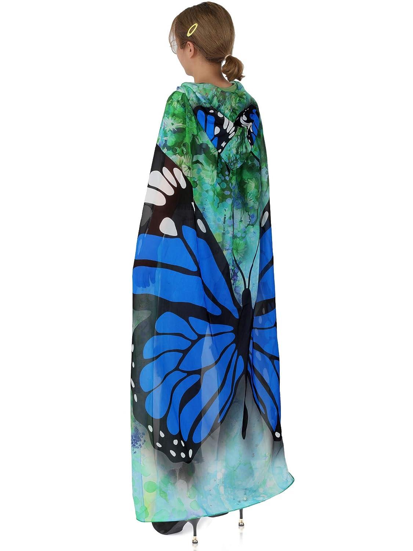 Syhood Traje de Mariposa de Halloween del Cabo de Tela Suave alas de Mariposa disfrazarse Capa para Suministros de Fiesta Azul