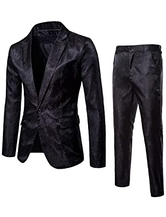 beee729fa821 Fashion Stage Clothing for Men Jackets Stylish Dress Suits for Wedding Party  M Black