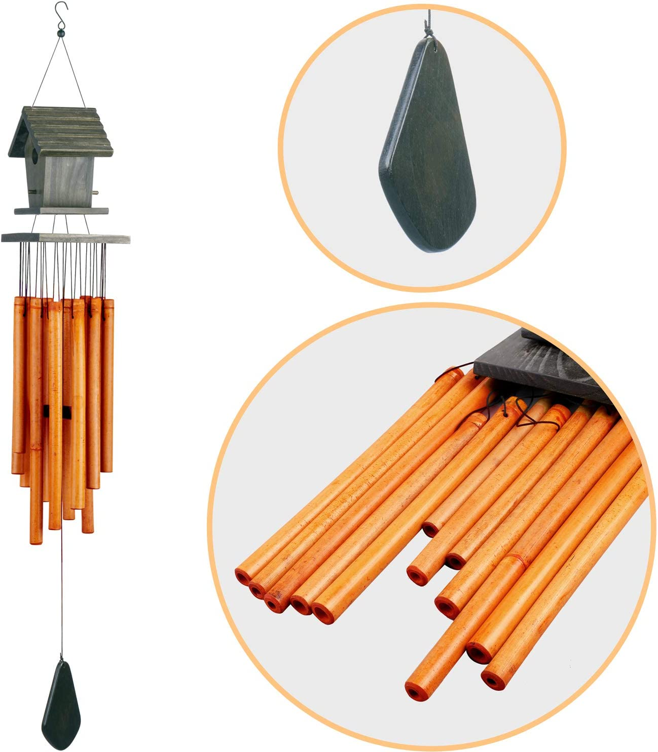 DIY Paint Your Own Wooden Wind Chime Wood Windchime Kids Decoration LS