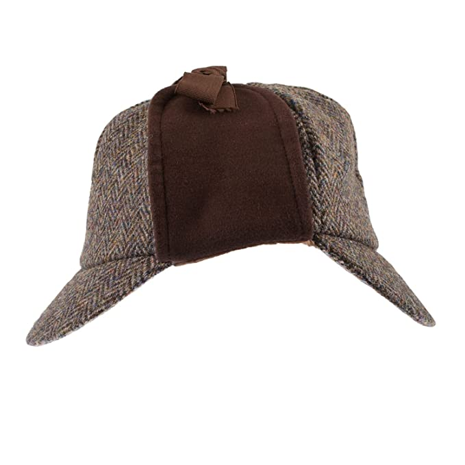 18e4ee2f28a GLEN APPIN Men s Classic Harris Tweed Deerstalker Hat Brown (L)  Amazon.ca   Clothing   Accessories