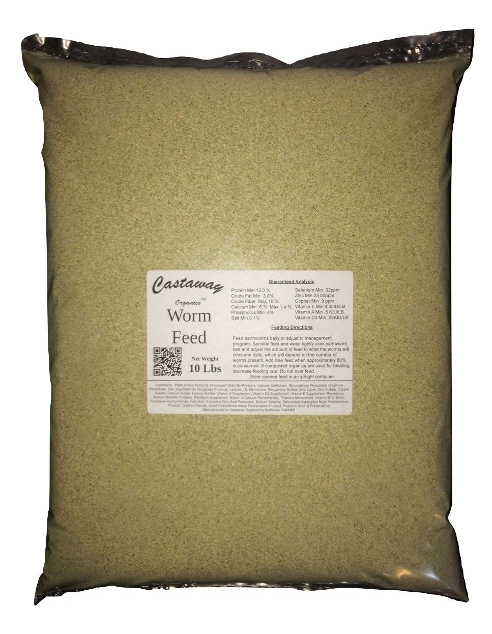 Castaway Organics Worm Feed (Worm Chow, Food for All Composting Worms and Bait Worms) (10 lbs)