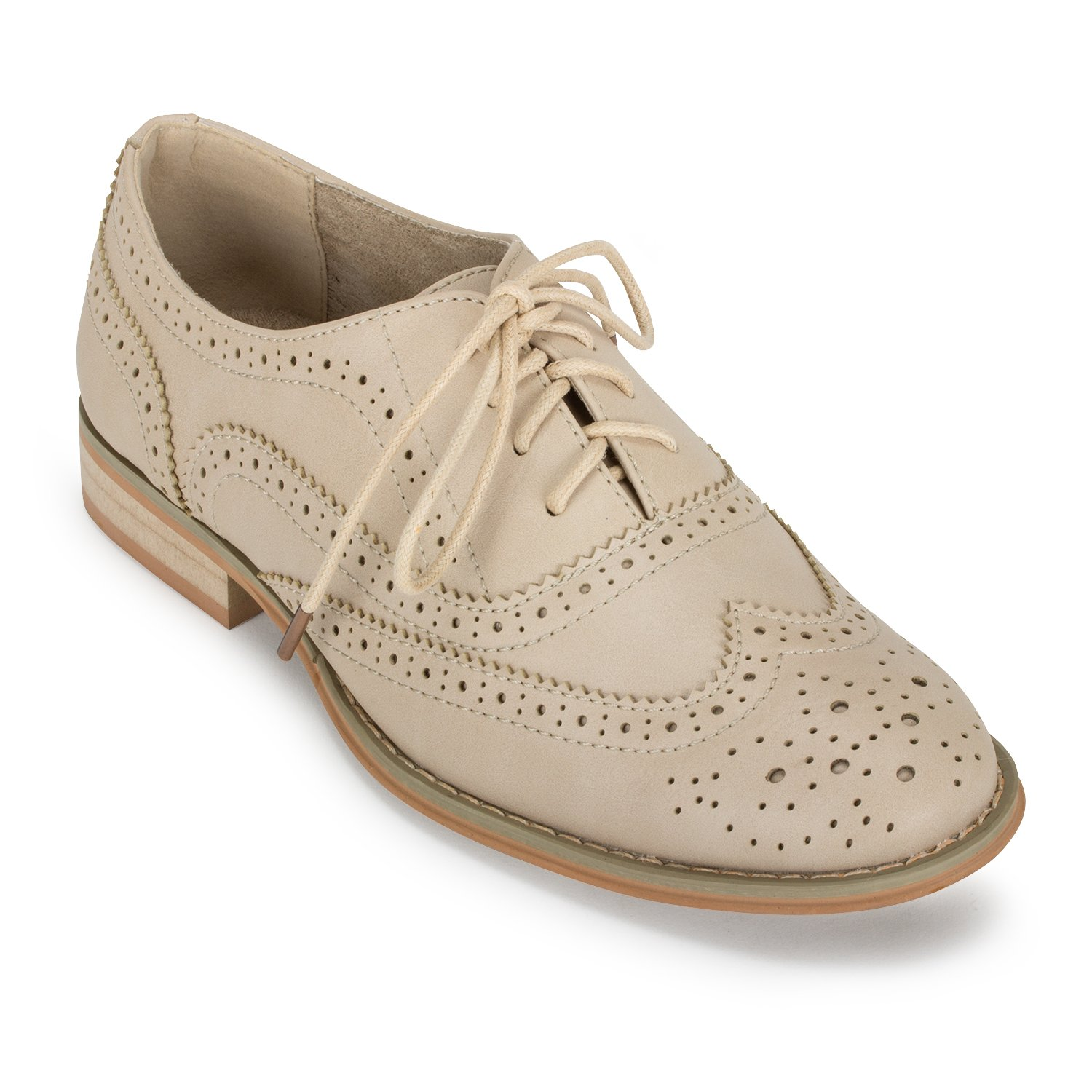 Wanted Shoes Womens Babe Oxford Shoe (5.5, Natural)