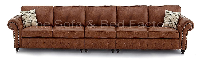 Sensational Oakridge Large Tan Long Leather 5 Seater Sofa Bespoke Tan Forskolin Free Trial Chair Design Images Forskolin Free Trialorg