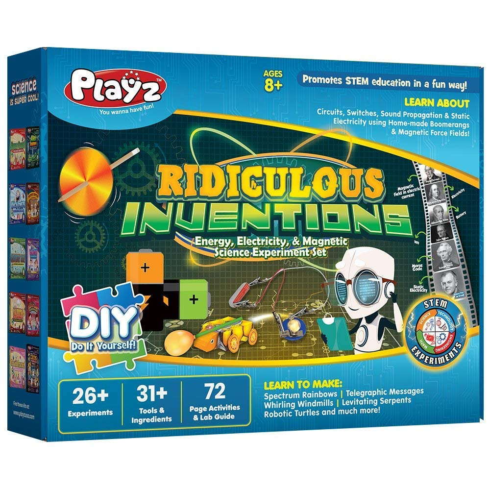 Playz Ridiculous Inventions Science Kits for Kids - Energy, Electricity & Magnetic Experiments Set - Build Electric Circuits, Motors, Telegraphic Messages, Robotics, Compasses, Switches, and much more by Playz