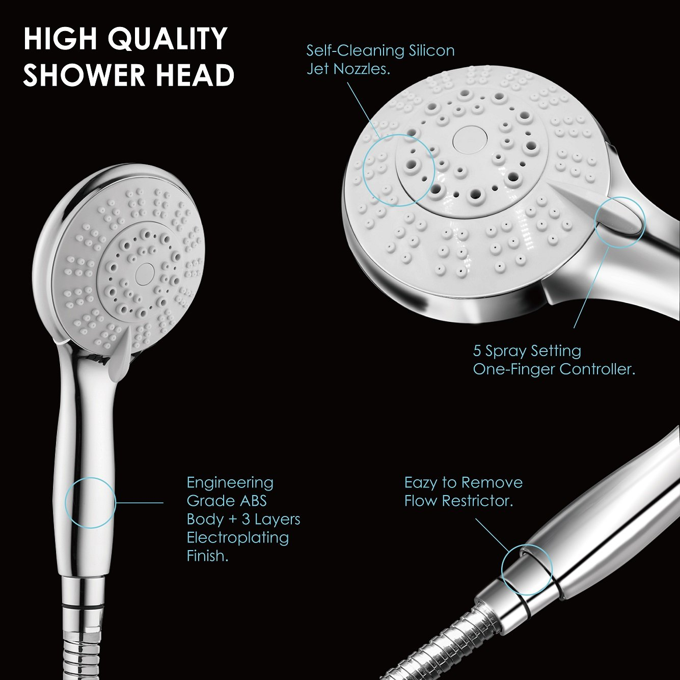 Detachable Hand held Shower Head Set Removable Sprayer with 5Ft ...