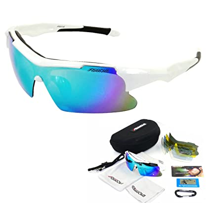 339568e785 FARROVA - KD018P POLARIZED Sports Sunglasses with 5 Set Interchangeable  Lenses (Main Black Grey Lenses are Polarized Lenses