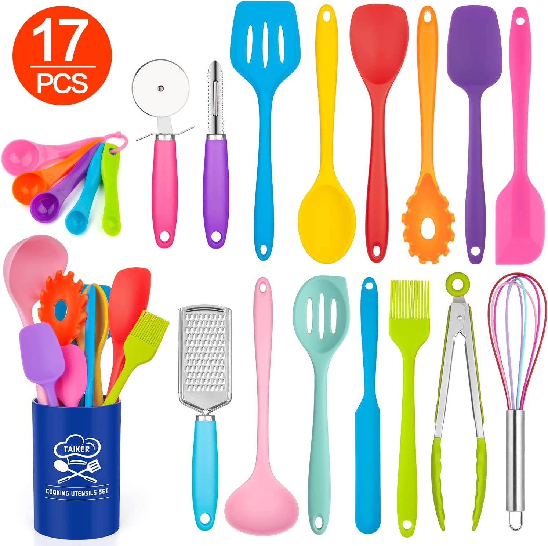 Silicone Kitchen Utensil Set, Taiker 17PCS Kitchen Cooking Utensils Set, Non-stick & Heat Resistant Silicone Cookware, BPA Free Non-Toxic Cooking Utensils, Kitchen Tools (Multi-colored)