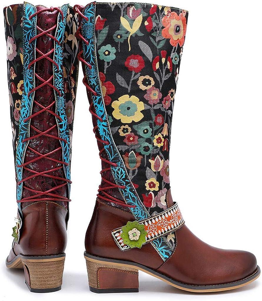 Pelle Ginocchio Stivali, Toamen Alto Stivali per Donne Alto Stivali al di sopra di Ginocchio Equitazione Stivali Vitello Piatto Bootie Marrone 2