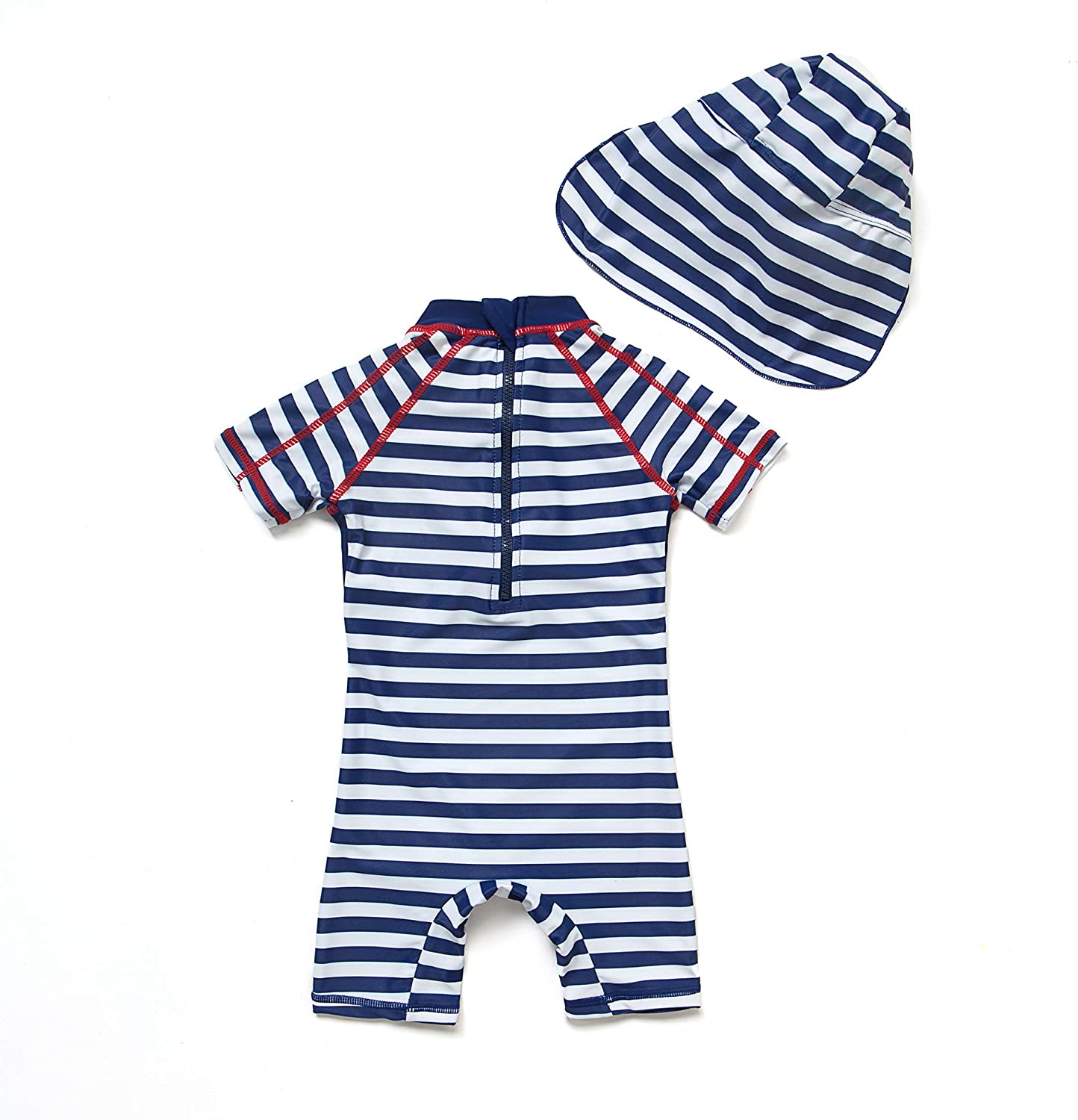 Orange,24-36Months Sun Protection All in One with Zipper Swimwear with Sun Hat Baby Boys Sunsuit UPF 50