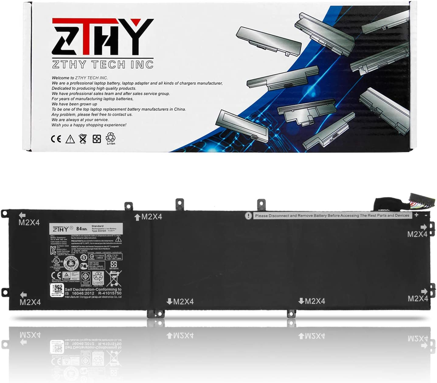 ZTHY 84Wh 4GVGH Laptop Battery Compatible with Dell XPS 15 9550 P56F P56F001 Dell Precision 5510 Mobile Workstation Series Replacement 1P6KD T453X 0T453 062MJV M7R96 451-BBUX 6Cell 7260mAh 11.4V