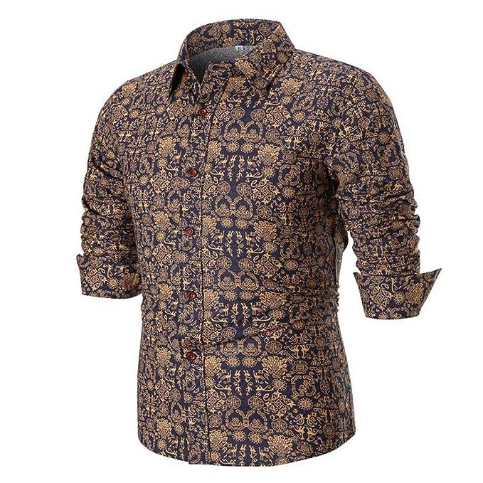 ♚Blusa de Verano para Hombres,Camisa Estampada de Manga Larga Delgada Casual de la