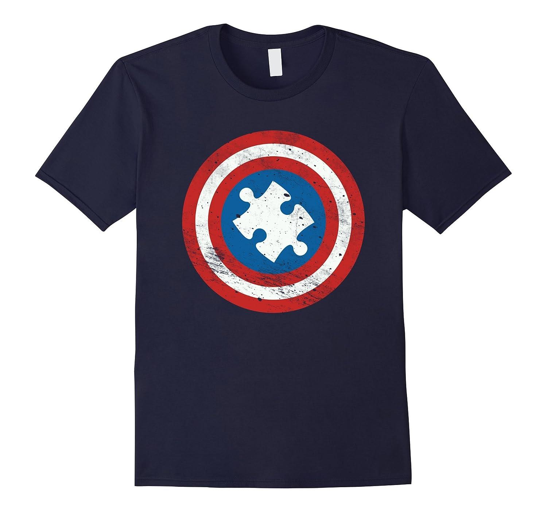 Captain Autism Distressed Shield Puzzle Logo Shirt-TD