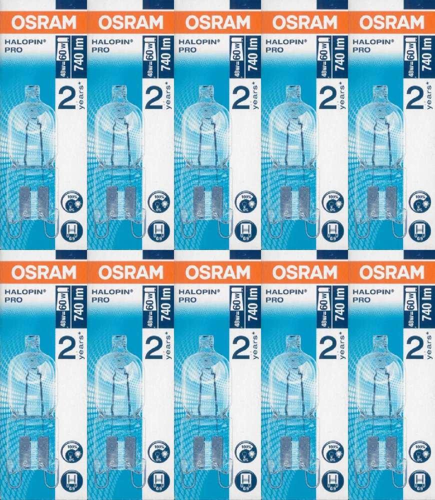 10 Stü ck Osram Halopin Halogen-Stiftsockellampe 230V G9 (48 Watt)