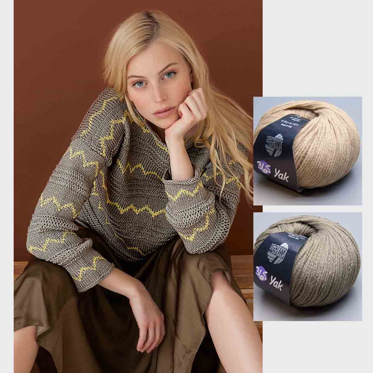 Short Kastiger Lana Grossa 365 Yak in Knitting Set with Instructions in Garnwelt Box 2 UK 1820
