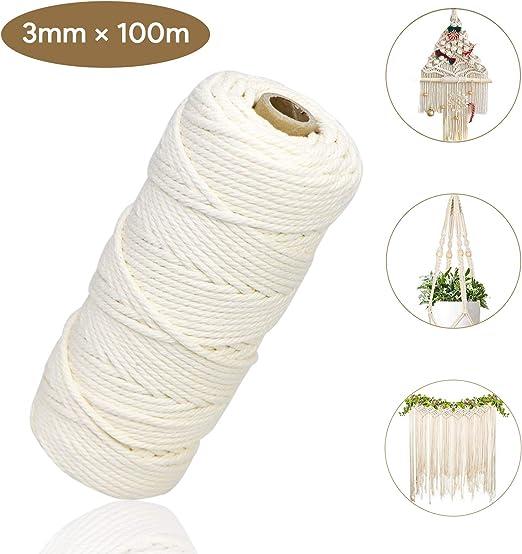 Qhui Cuerda Macrame 3mm x 100m Cuerda de Algodon Natural, Hilo Macrame para Bricolaje Artesanía Colgante de Pared Colgador de Planta Tejido Cordón Tejer Decoración Envolver (Beige): Amazon.es: Hogar