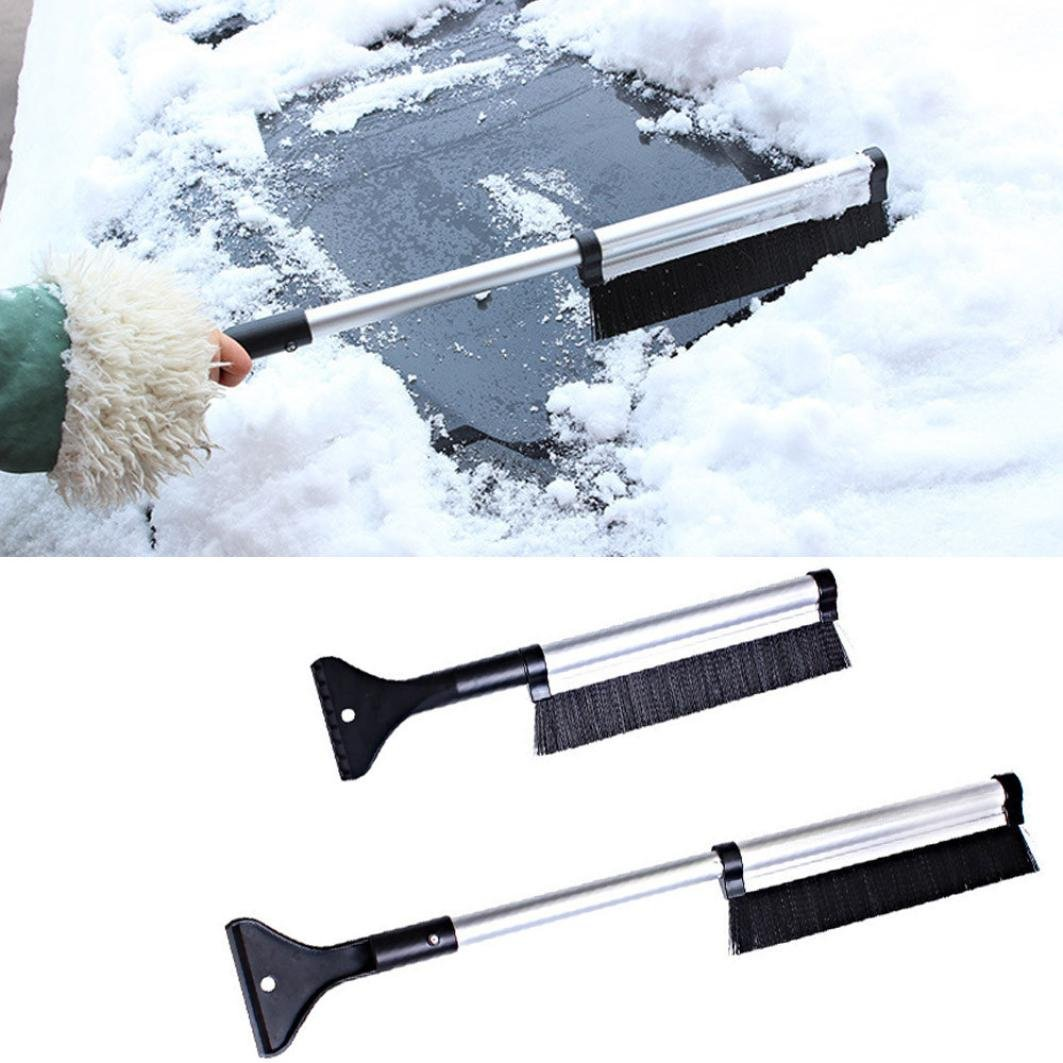 SMYTShop 2 in 1 Extendable Telescoping SnowBrush Shovel Removal Brush Winter,Fashion vehicle Snow Ice Scraper for Car,Lightweight Sturdy Aluminium Design 1 pack (Extendable)