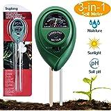 Suplong - in Erde Tester Feuchtigkeit Meter pflanzenbodengrund Tester Kit mit Licht und pH Säure Tester, ideal für Garten, Bauernhof, Rasen, Indoor & Outdoor (kein Akku erforderlich)