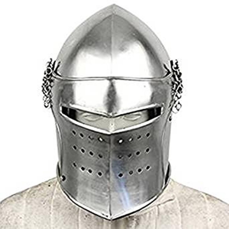 Medieval Renaissance Detachable Visor Barbute 18 Guage Functional Helmet  Armor