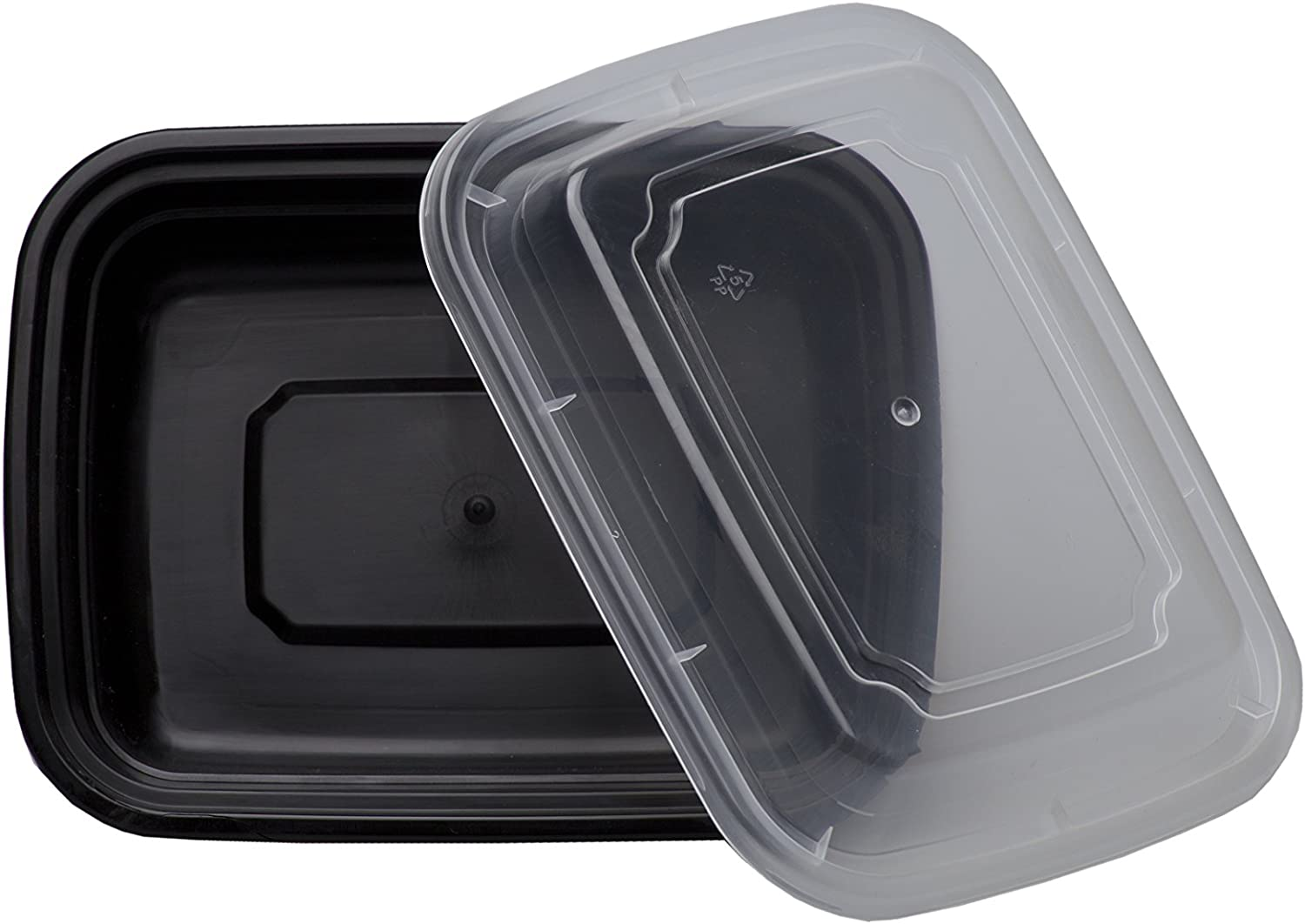 SAFEPRO 12 oz. Black Rectangular Microwavable Container with Clear Lid, Bento Lunch Box, Plastic Take-Out Containers (Case of 100)