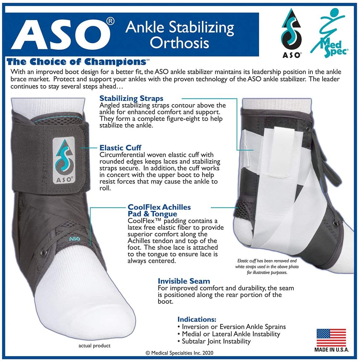 Med Spec ASO Ankle Stabilizer: Sports & Outdoors