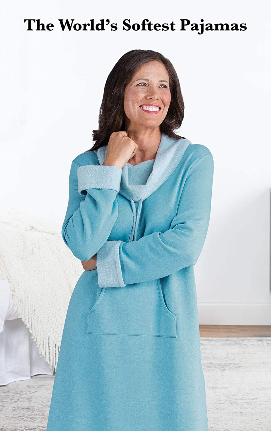 PajamaGram Soft Nightgowns for Women Long Sleeve Nightgown GAMV06009