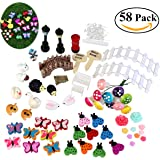 BESTOMZ 58pcs Miniature Fairy Garden Ornament for DIY Dollhouse Kit Décor