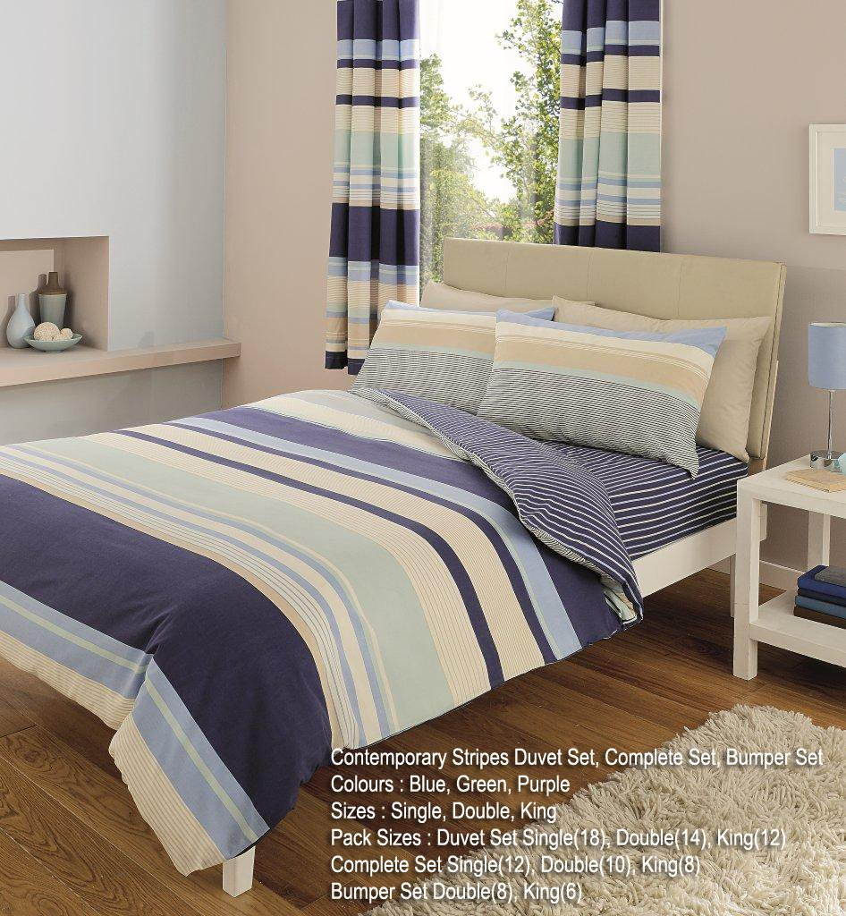 Gaveno Cavailia Luxury CONTEMPORARY STRIPES Bed Set With Duvet Cover and Pillow Case, Blue, Polyester-Cotton, Double T&A Textiles 11061205