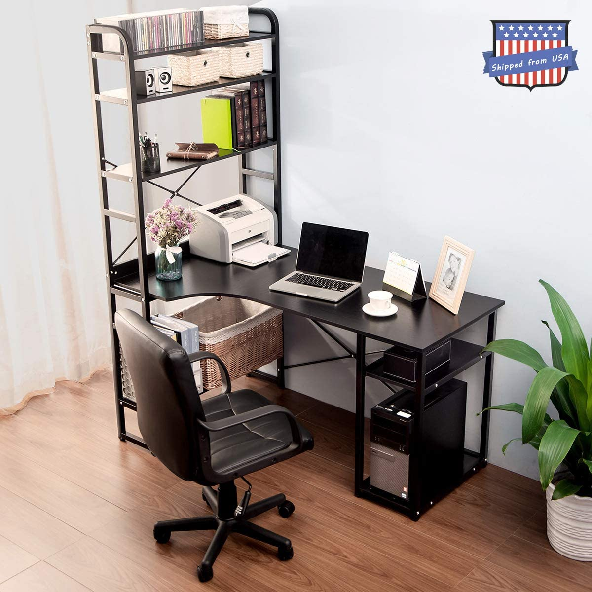 54 Computer Desk with 4 Tier Storage Shelves, Chino Large Modern Computer Desk L Shaped with Book Shelf Study Writing Desk Workstation Desk MDF Board and Metal Frame Black